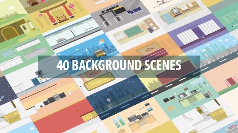 40个MG动画混合背景场景