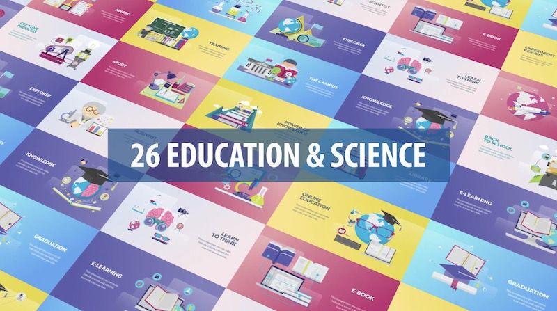26种教育和科学动画元素